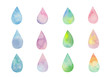 カラフルなしずくの水彩イラスト