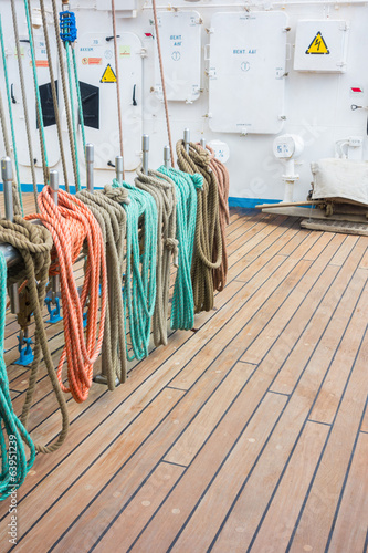 Elements of equipment of a sailing cruise ship