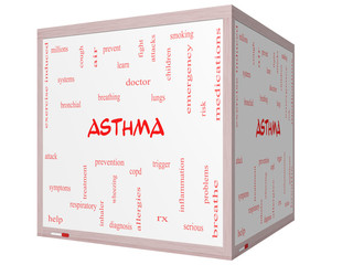 Asthma Word Cloud Concept on a 3D cube Whiteboard