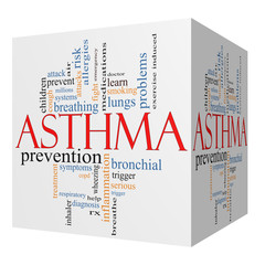 Asthma 3D cube Word Cloud Concept