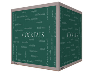 Cocktails Word Cloud Concept on a 3D cube Blackboard