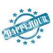 Blue Weathered Happy Hour Stamp Circle and Stars design