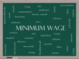 Minimum Wage Word Cloud Concept on a Blackboard poster