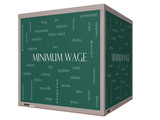 Minimum Wage Word Cloud Concept on a 3D cube Blackboard poster