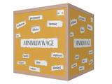 Minimum Wage 3D cube Corkboard Word Concept poster