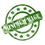 Green Weathered Minimum Wage Stamp Circle and Stars poster