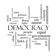 Democracy Word Cloud Concept in black and white