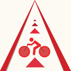 Bicycle route sign on the road and arrows pointing direction. Ve