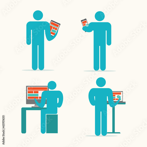 Business man working on devices. Vector illustration