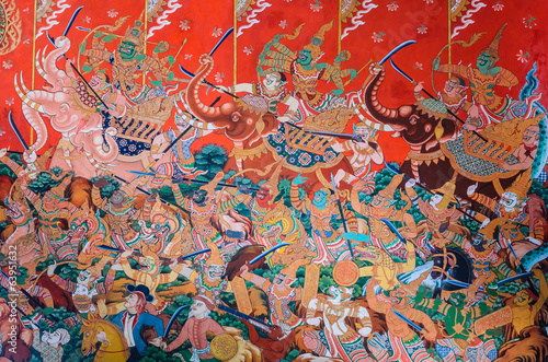 Thai Buddhist temple mural painting