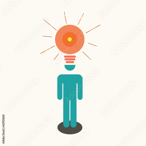 Business man & light bulb idea.