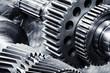 canvas print picture - titanium aerospace gears and cogwheels