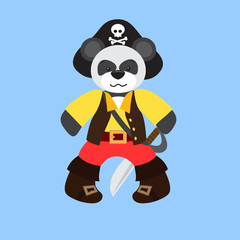 Teddy panda in a piracy hat