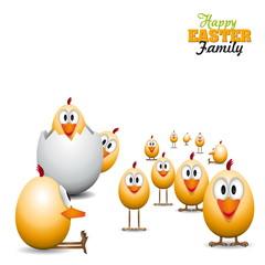 Funny Easter eggs chicks - background illustration - Happy easte
