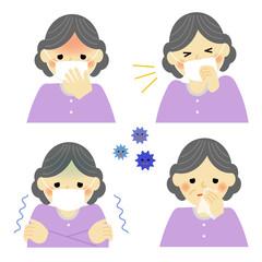 風邪の症状 シニア女性 / vector eps