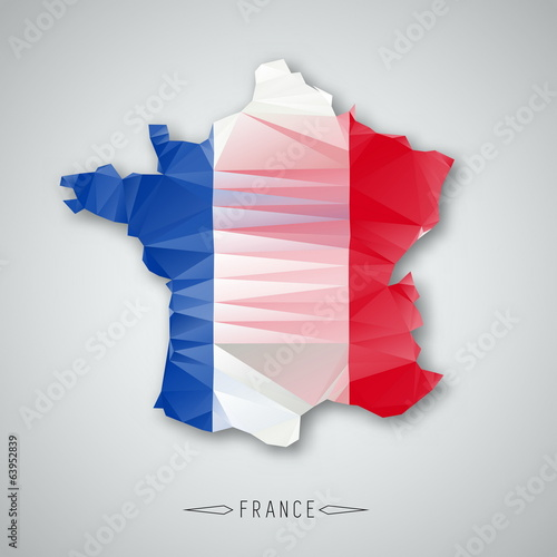 France map in a Triangular Style. Vector Illustration