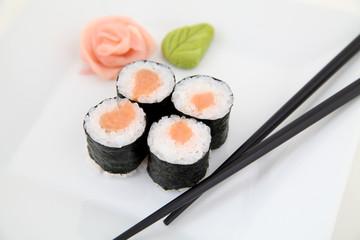Hosomaki, salmon. Traditional japanese sushi rolls