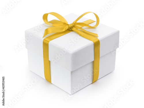 white gift paper box with yellow ribbon bow