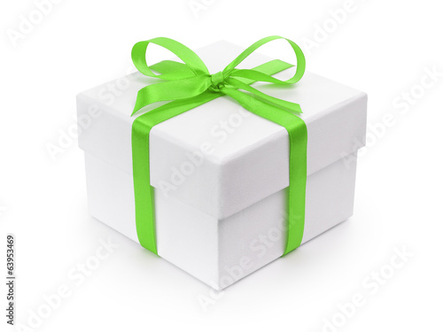 white gift paper box with green ribbon bow