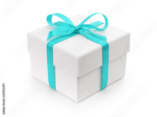 white gift paper box with blue ribbon bow