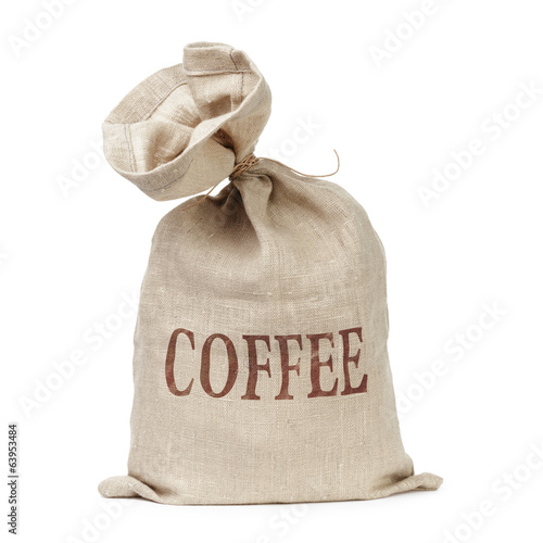 tied bag with coffee word digitally written