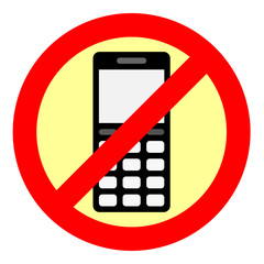 Sign forbidding to use the phone.