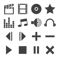 Black and White media player icons