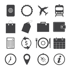 Black and White Travel Icons.Vector EPS10