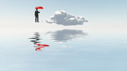 Man with red umbrella float above desert landscape