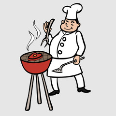 Chef cooking barbeque