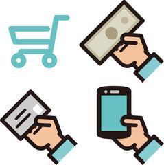 現金、クレジットカード、電子マネー支払のアイコン