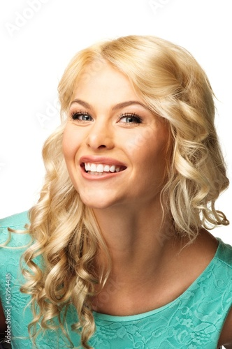 Positive young woman with long blond hair