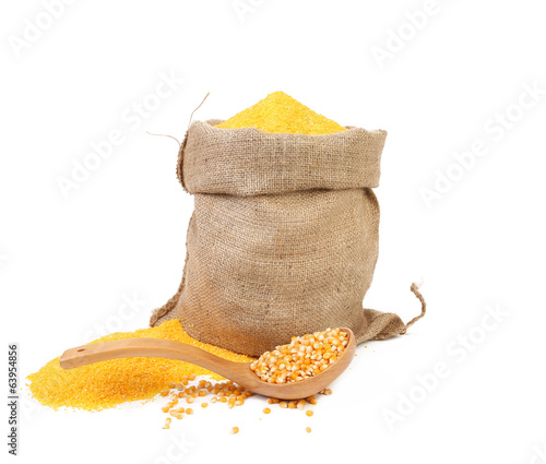 Cornmeal in bag with spoon.