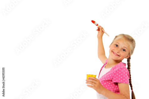 Girl with paintbrush writing on screen whiteboard isolated