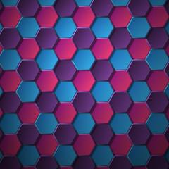 объемный шестиугольники на синем фоне