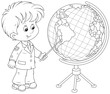 school student points to a country on a big globe