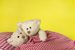 canvas print picture - Concept for love - two toy teddy bears in the bed.