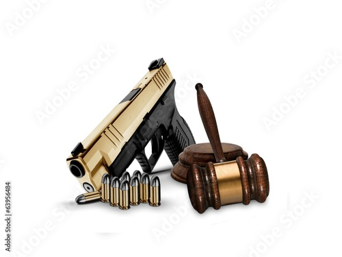 Gavel and Hand Gun with Bullets