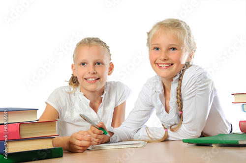 Girls studying at school