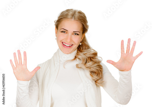 Portrait of smiling woman showing ten fingers
