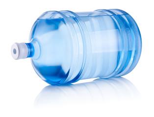 Large bottle of water lies on one side isolated on white backgro