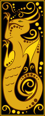 stylized Chinese horoscope black and gold - dragon