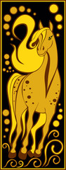 stylized Chinese horoscope black and gold - horse