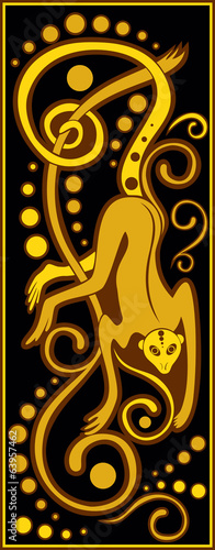 stylized Chinese horoscope black and gold - monkey