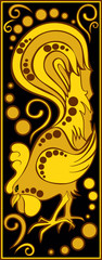 stylized Chinese horoscope black and gold - rooster