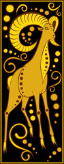 stylized Chinese horoscope black and gold - ram