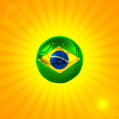brazil flag soccer ball sun and yellow background