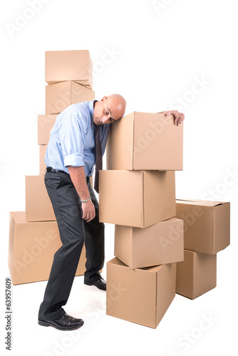 Businessman with boxes