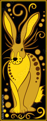 stylized Chinese horoscope black and gold - rabbit