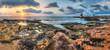 sunset over the sea and rocky coast